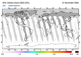 OMI - SO2 vertical column of 21 November 2020