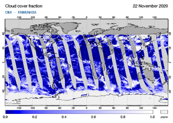 OMI - Cloud cover fraction of 22 November 2020