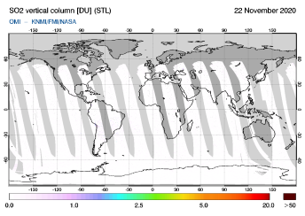 OMI - SO2 vertical column of 22 November 2020