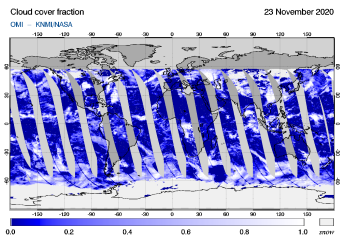 OMI - Cloud cover fraction of 23 November 2020