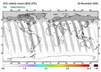 OMI - SO2 vertical column of 23 November 2020