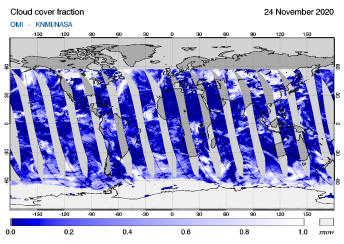 OMI - Cloud cover fraction of 24 November 2020