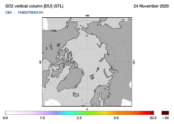 OMI - SO2 vertical column of 24 November 2020