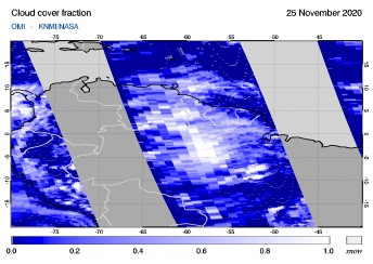 OMI - Cloud cover fraction of 25 November 2020