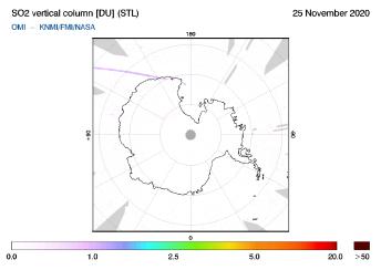 OMI - SO2 vertical column of 25 November 2020