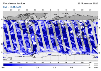 OMI - Cloud cover fraction of 26 November 2020