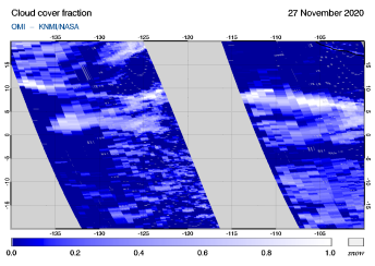 OMI - Cloud cover fraction of 27 November 2020