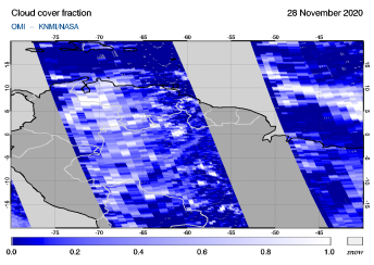 OMI - Cloud cover fraction of 28 November 2020
