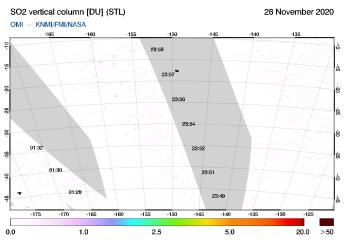 OMI - SO2 vertical column of 28 November 2020