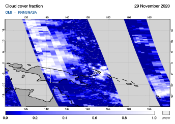 OMI - Cloud cover fraction of 29 November 2020