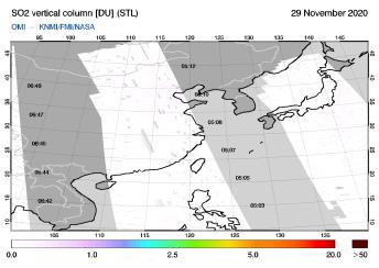 OMI - SO2 vertical column of 29 November 2020