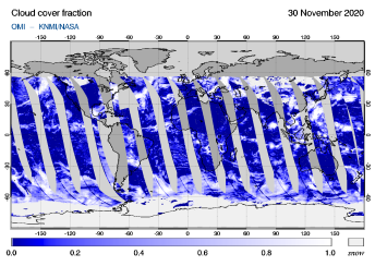 OMI - Cloud cover fraction of 30 November 2020