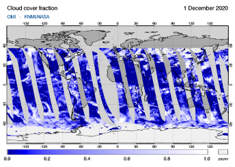 OMI - Cloud cover fraction of 01 December 2020