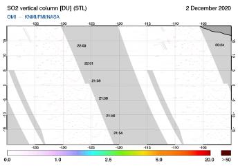 OMI - SO2 vertical column of 02 December 2020