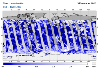 OMI - Cloud cover fraction of 03 December 2020