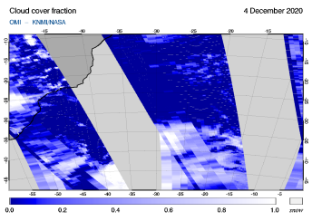 OMI - Cloud cover fraction of 04 December 2020