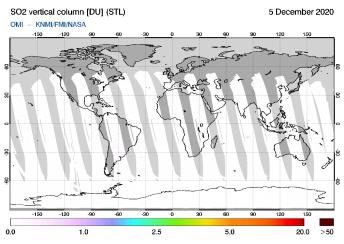 OMI - SO2 vertical column of 05 December 2020