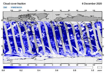 OMI - Cloud cover fraction of 06 December 2020