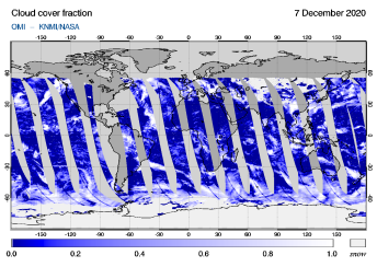 OMI - Cloud cover fraction of 07 December 2020