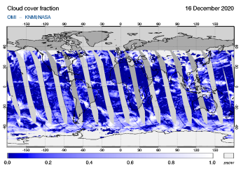 OMI - Cloud cover fraction of 16 December 2020