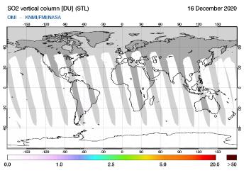 OMI - SO2 vertical column of 16 December 2020