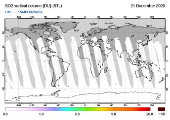 OMI - SO2 vertical column of 21 December 2020