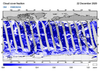 OMI - Cloud cover fraction of 22 December 2020