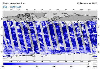 OMI - Cloud cover fraction of 23 December 2020