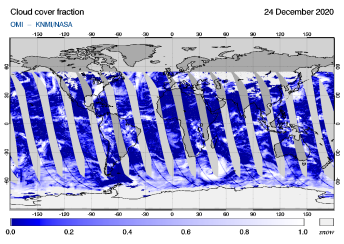 OMI - Cloud cover fraction of 24 December 2020