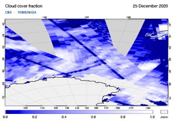 OMI - Cloud cover fraction of 25 December 2020
