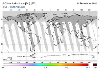 OMI - SO2 vertical column of 25 December 2020