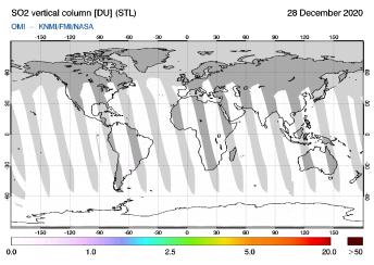 OMI - SO2 vertical column of 28 December 2020