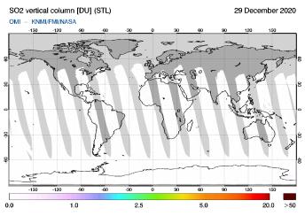 OMI - SO2 vertical column of 29 December 2020