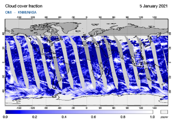 OMI - Cloud cover fraction of 05 January 2021