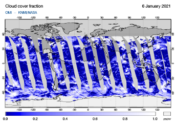 OMI - Cloud cover fraction of 06 January 2021