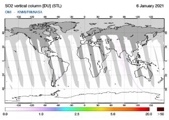 OMI - SO2 vertical column of 06 January 2021