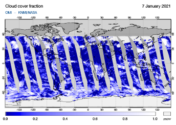 OMI - Cloud cover fraction of 07 January 2021
