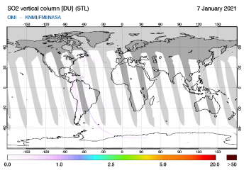 OMI - SO2 vertical column of 07 January 2021