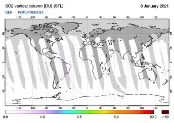 OMI - SO2 vertical column of 08 January 2021