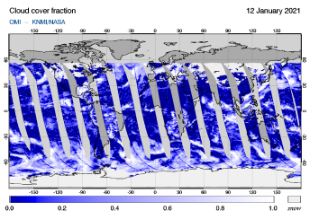 OMI - Cloud cover fraction of 12 January 2021