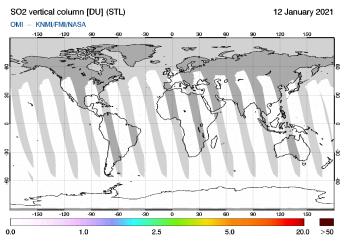 OMI - SO2 vertical column of 12 January 2021