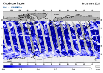 OMI - Cloud cover fraction of 15 January 2021