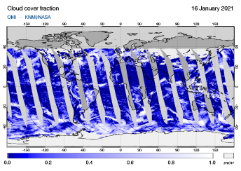 OMI - Cloud cover fraction of 16 January 2021