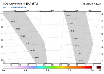 OMI - SO2 vertical column of 16 January 2021