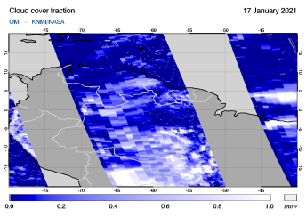 OMI - Cloud cover fraction of 17 January 2021