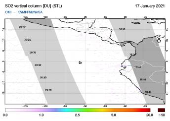 OMI - SO2 vertical column of 17 January 2021