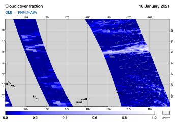 OMI - Cloud cover fraction of 18 January 2021