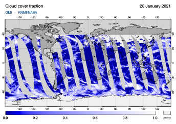 OMI - Cloud cover fraction of 20 January 2021