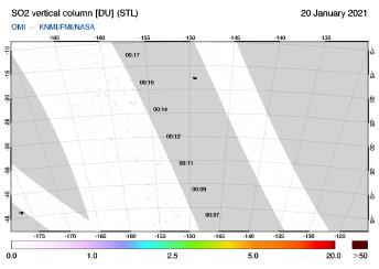 OMI - SO2 vertical column of 20 January 2021