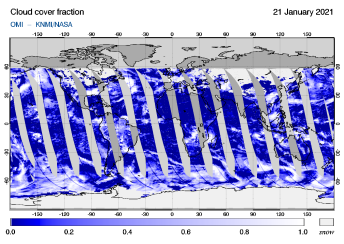 OMI - Cloud cover fraction of 21 January 2021